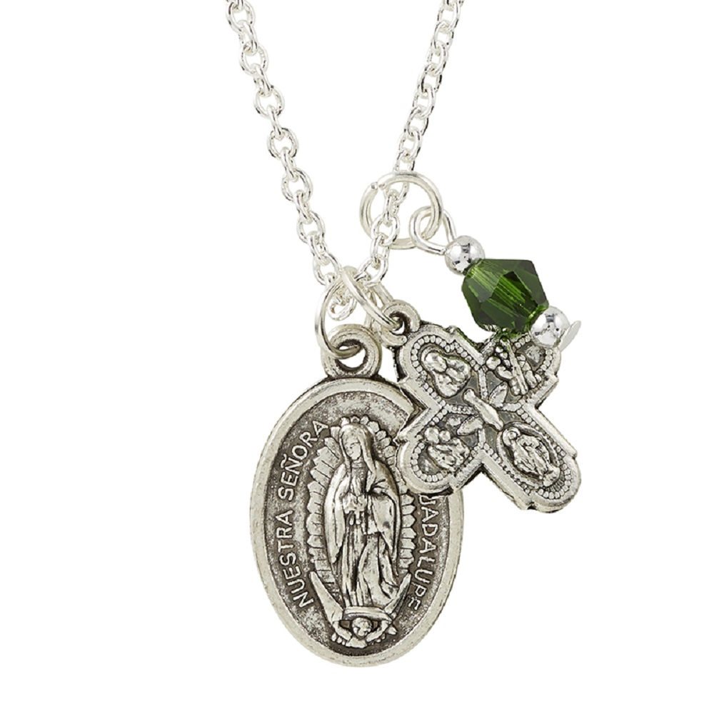 Four Way Medal and Our Lady of Guadalupe Medal on Chain