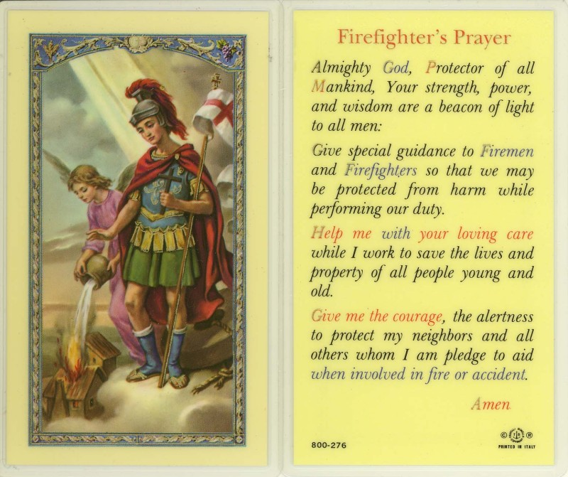 St. Florian laminated holy card