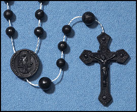 Black diamond bead plastic Rosary (like pictured, but in black)