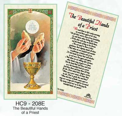 These Hands Laminated Holy card for Priests