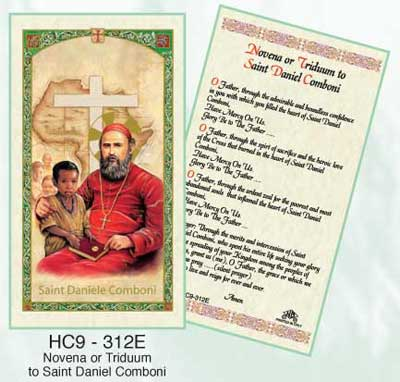 SAINT DANIEL COMBONI laminated holy card
