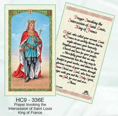 St. Louis King of France Laminated holy card
