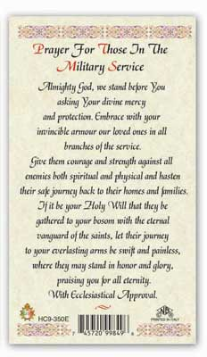 A PRAYER for those in Service Laminated Holy card