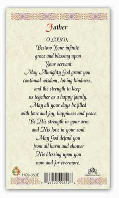 PRAYER for Fathers laminated holy card