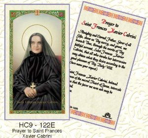 St. Mother Cabrini laminated holy card