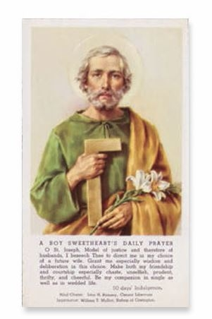 Value Priced Paper St. Joseph Card for Boys