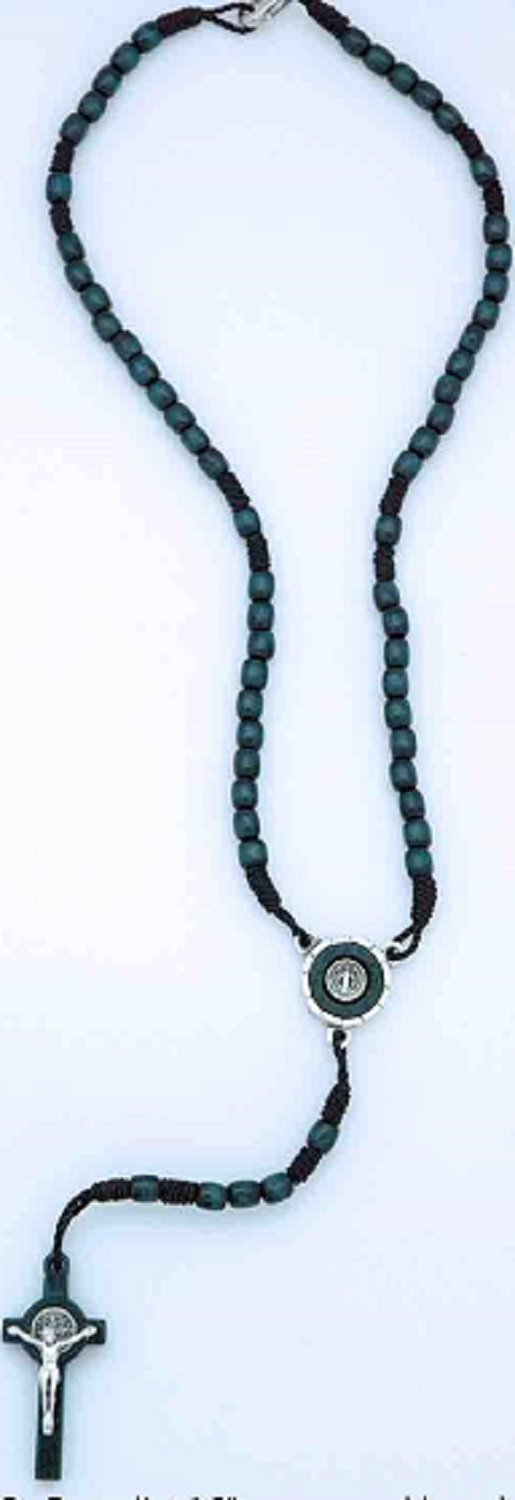St. Benedict Dark Blue Wood Bead Rosary or Rosary Necklace  (W-1)