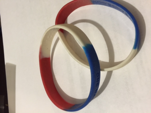 One Nation Under God Tri color wristbands