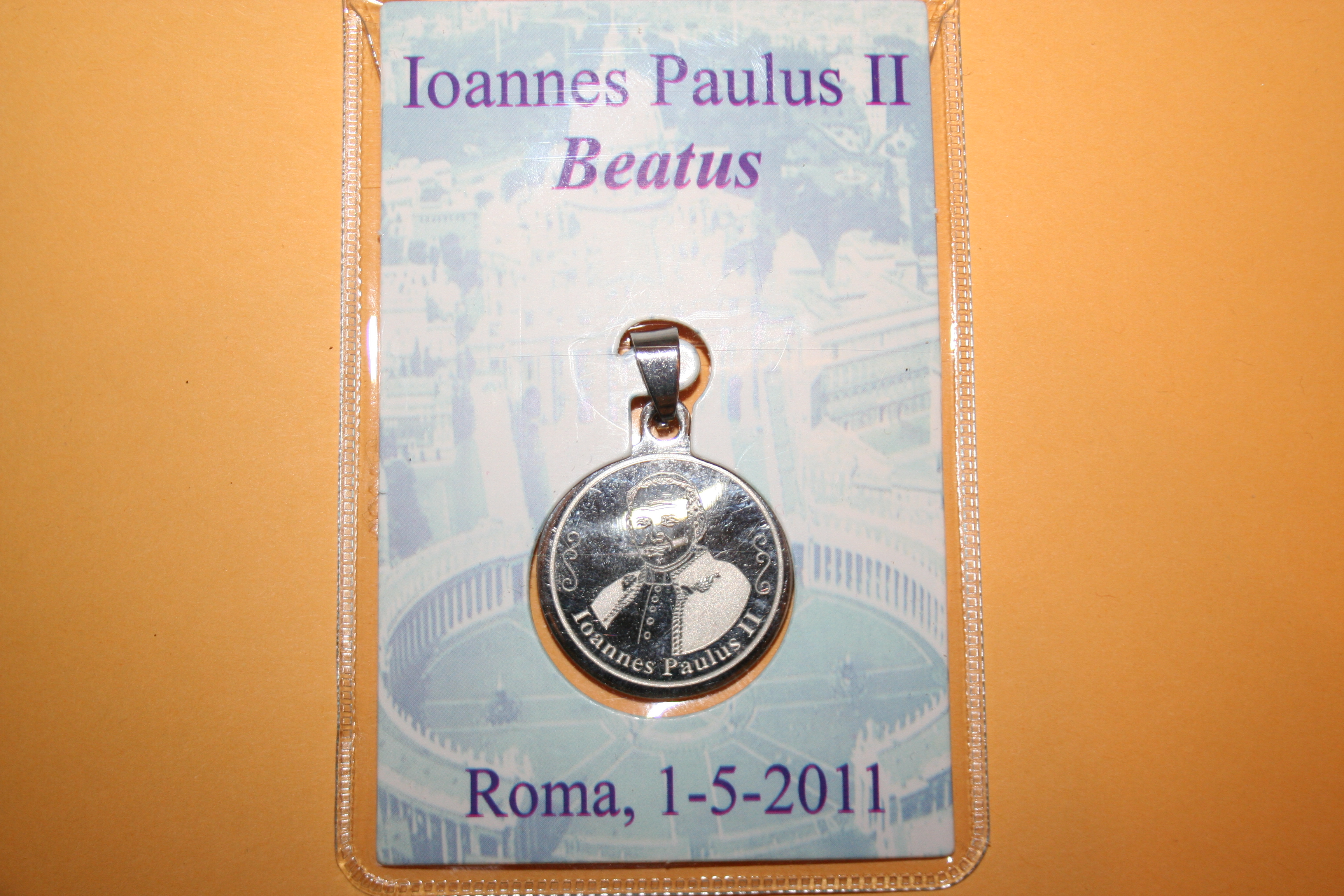 Laser Pope John Paul Beatification medal on card