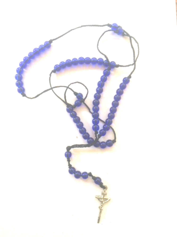 Blue Handmade Rosary Necklace