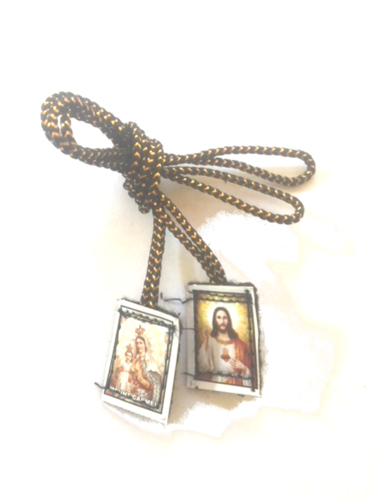 Gold string brown scapular