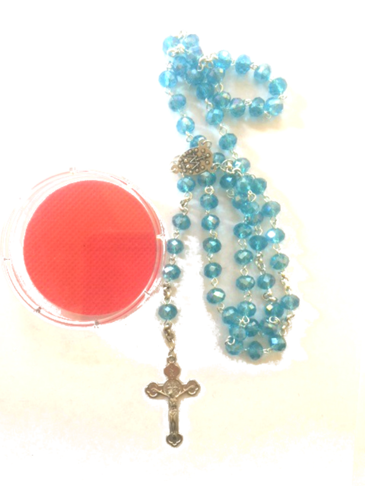 Blue Crystal Bead Rosary in Case