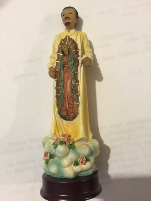 Full Color statue of St. Juan Diego with Guadalupe Tilma