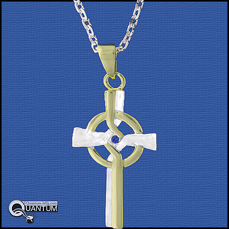 Two Tone CZ cross on chain