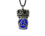 Pewter Celtic Trinity Knot Aromatherapy Holy Water Vial 36' Cord