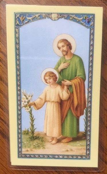 St. Joseph with Child Jesus laminated Holy Card