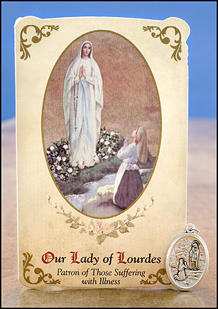 Our Lady of Lourdes / St Bernadette  Healing Holy Card with Medal