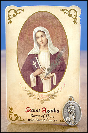 St Agatha Healing Holy Card with Medal