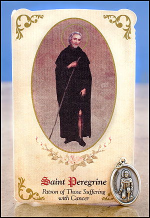 St Peregrine Healing Holy Card with Medal