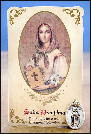 St Dymphna Healing Holy Card with Medal