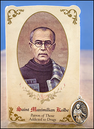 St Maximilian Kolbe Healing Holy Card with Medal