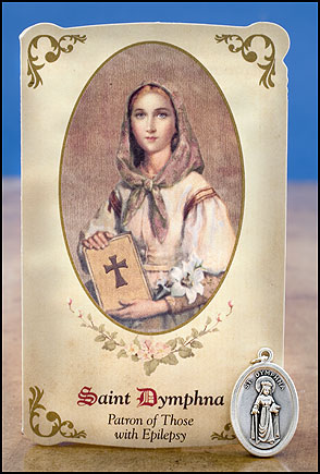 St. Dymphna card and medal