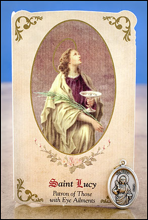 St. Lucy Healing Holy Card with Medal