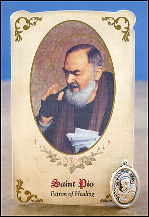 St. Padre Pio Healing Holy Card with Medal