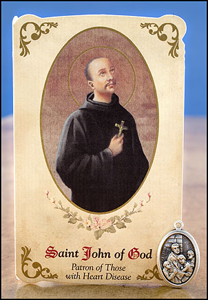 St. John of God Healing Holy Card with Medal