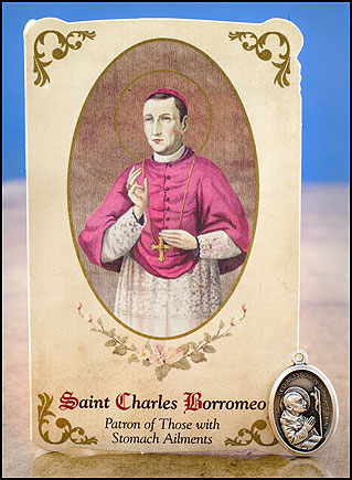 St. Charles Borromeo Healing Holy Card with Medal