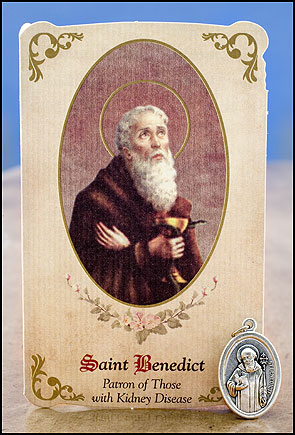 St. Benedict Healing Holy Card with Medal