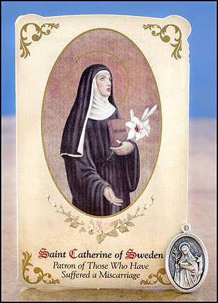 St. Catherine of Sweden Healing Holy Card with Medal
