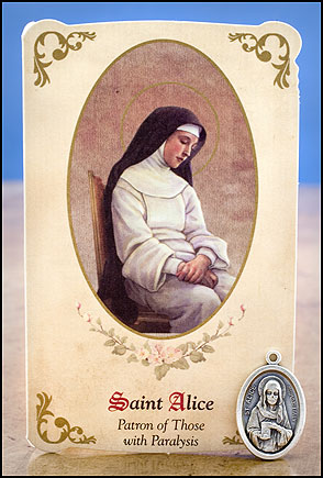 St. Alice Healing Holy Card with Medal