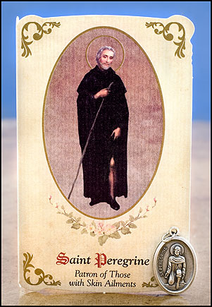 Skin Ailments, St. Peregrine Healing Card and Medal