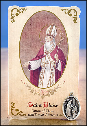 St. Blaise Healing Holy Card with Medal