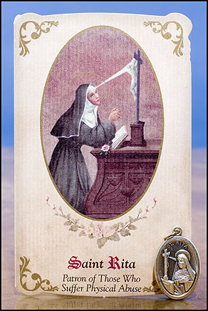 St. Rita Healing Holy Card with Medal