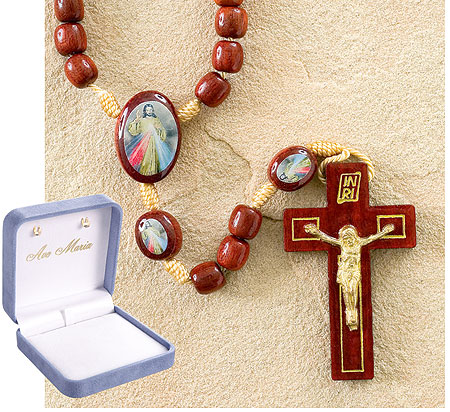 Deluxe Wood Divine Mercy Saint Rosary in Gift box