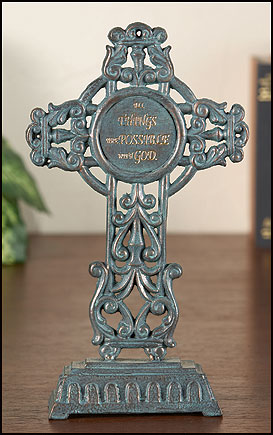 All Things are Possible free standing cast iron cross