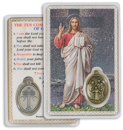 Ten Commandments Blessing Christ Carded Medal