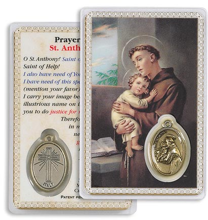 Saint Anthony Holy Card with Medal