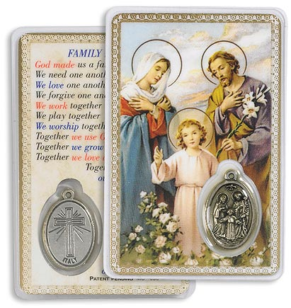 Holy Family Holy Card with Medal
