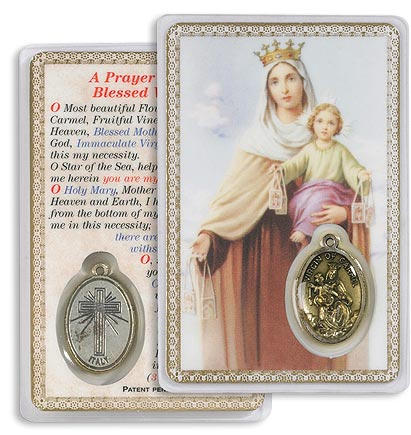 Our Lady of Mount Carmel Holy Card with Medal
