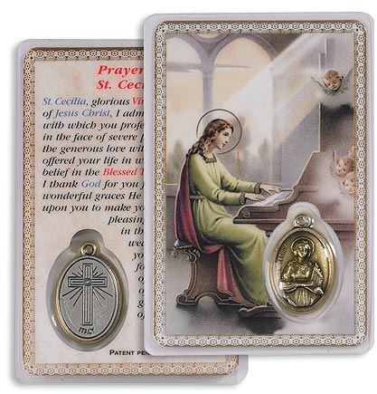 Saint Cecilia Holy Card with Medal