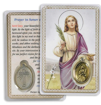 Saint Lucy Holy Card with Medal