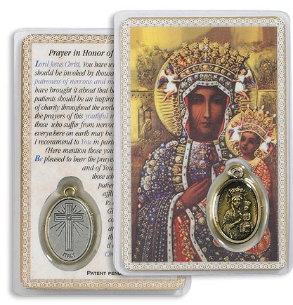 Our Lady of Czestohowa Holy Card with Medal