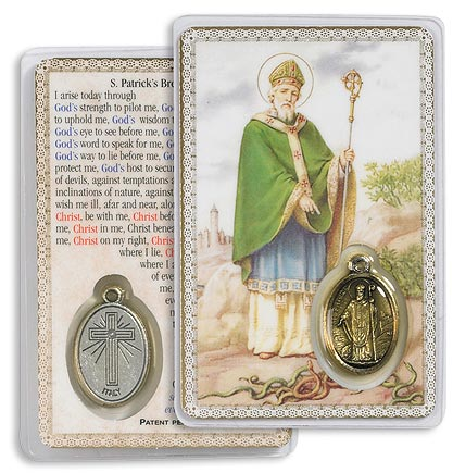 Saint Patrick Holy Card with Medal