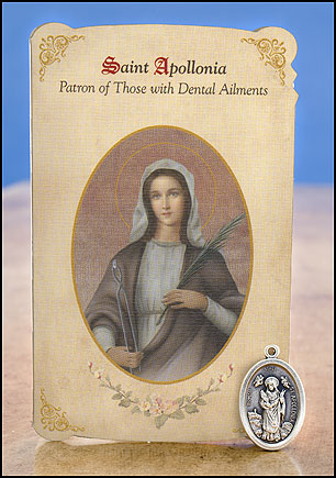 St. Apollonia healing card with medal set (Dental problems)