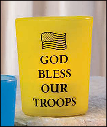 God Bless Our Troops Flameless Votive Candle