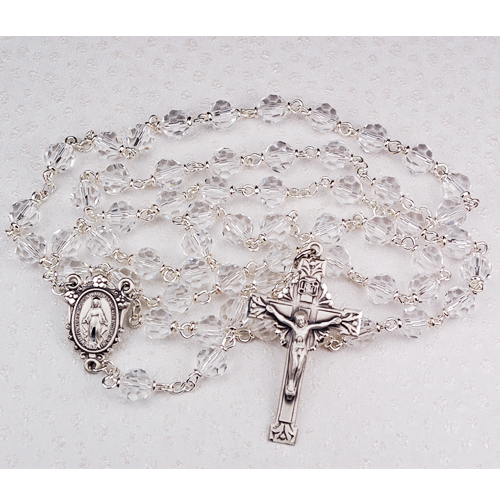 Sterling 7MM CRYSTAL TINCUT ROSARY