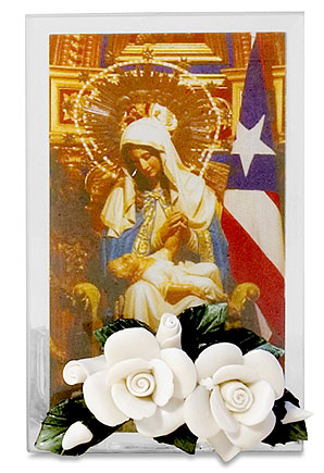 Our Lady of Providence Votive Holder with Porcelain Rose